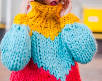 Chunky knit sweater - with heart. Multicolor knitted turtleneck. Extreme knitting bomber. Bulky wool knitwear. Oversized sweater for her