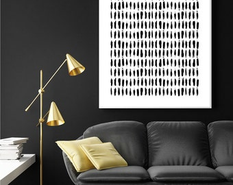 Large Black and White Art, Scandinavian Brushstrokes, Minimalist Poster, Scandinavian Print, Scandinavian Art, Brushstrokes, Black and White