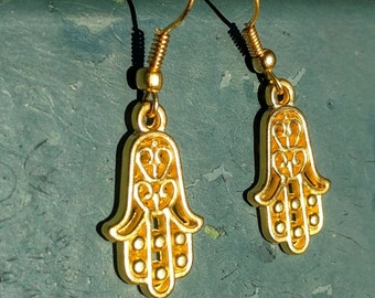 Hand of Fatima (Hamsa) Gold Plated Drop Earrings, Handmade