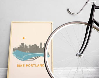 Bicycle Wall Art – Portland Wall Print - Wall Hangings - Cycling Gift – Portland Skyline - Wall Décor – Minimalist Poster – Home Décor