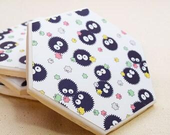 Soot Sprite Hexagon Coaster   Single Coaster   Totoro Ceramic Tile Coaster   Studio Ghibli Spirited Away      Kawaii Anime Drink Coaster