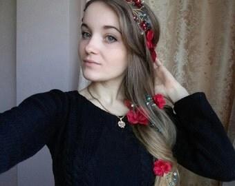Red flower vine Flower vine Wedding flower crown Bridal headband Floral crown Flower hair wreath