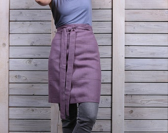 Linen half apron / Cafe apron / Women's and mens half cafe wrap apron / lavender