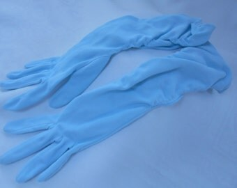Vintage Nylon Simplex Light Blue Rouched Gloves Size 7 1/2 1960's  #20067