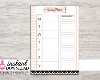 A5 Planner Printable - Menu Planner - Weekly Menu - Grocery List - Filfoax A5 - Kikki K Large - Design: Mademoiselle
