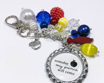Snow White Purse Charm Keychain / Disney Snow White Movie Quote Someday My Prince Will Come / Poison Apple Bottlecap Pendant Beaded Jewelry