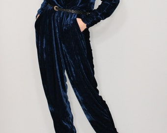 Navy blue jumpsuit Velvet jumpsuit Long sleeve jumpsuit Batwing jumpsuit