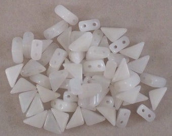 Tango Beads, 6mm, White Alabaster, TG/CW/6, 60 Beads, Czech Glass