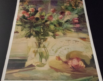 "Vintage 1996 Aleene's Decoupage Prints & Papers, ""La Vie En Rose"" 9x12 print, NEW"