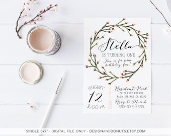 First Birthday Girl Invitation, Watercolor Floral Wreath, Flower Wreath, Arrow, Printable Invites [86a]
