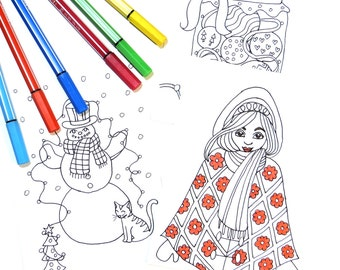 DIY Christmas Coloring Cards | Instant Download Printables