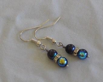 Black Czech Bead Earrings