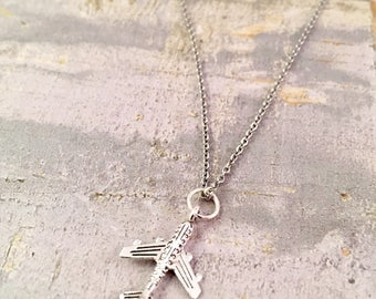 Small Airplane charm necklace, Best Friend Necklace, Airplane necklace, Airplane silver charm, stewardess gift,  flight attendant gift