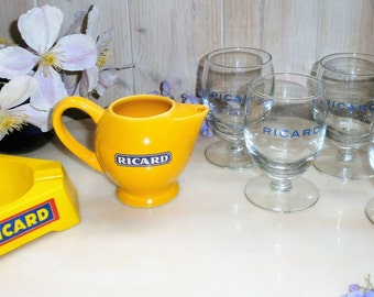 french Bistro / / / RICARD/Collection / / 70/80s/90s / / appetizer / / glasses Ricard / / / ashtray/pitcher / / / Ashtray/Glasses / / Yellow Pitcher