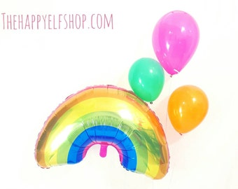 "Huge 36"" Rainbow balloon. Rainbow party supplies. Rainbows clouds sun. Luau. St Patrick's day decor. Gold. Rainbow Party Decor. Gay pride."