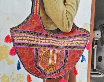 Handmade Ethnic Hand Bag, Vibrant Embroidered and Tassels, Colorful Tribal Style, Hmong Bohemian Cotton Bag