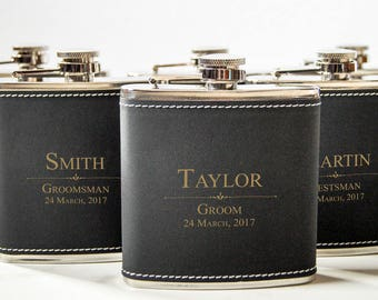 Personalized Set Of 6 Flasks, Groomsmen Wedding Gift, Best Man Leather Flasks, Customized Wedding Flasks, Engraved Leatherette Flasks