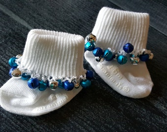 Sock with Blue Jingle Bells -- Newborn-6 month