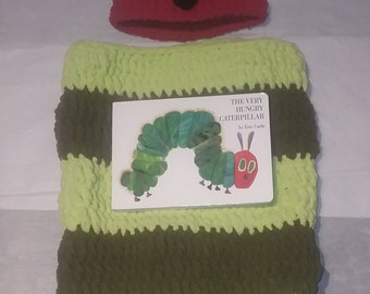Super Soft Crocheted Hungry Little Caterpillar Hat, Baby Cocoon, and  Board Book