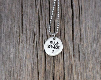 Personalized Pewter river stone mommy necklace, hand stamped name and heart
