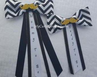 Bow Tie Mommy To Be Mustache Pin/Black White Gold Mustache Pin/Black and Gold Baby Shower Corsage/Bow Tie Daddy to be Pin/Black Gold Shower