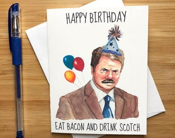 Ron Swanson Birthday Card, Parks and Rec Gift, Parks and Recreation Birthday Card, Bacon, Happy Birthday, Funny Birthday Card, Bday Card
