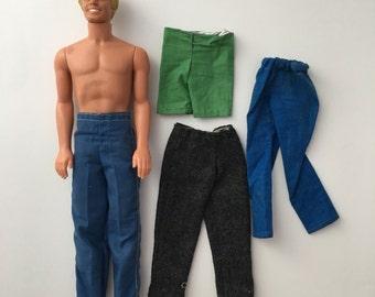 Vintage Malibu Ken and clothes, 70s Malibu Ken, Ken clothes, Ken pants, vintage Ken doll, vintage Barbie, Barbie ken doll, Ken pants