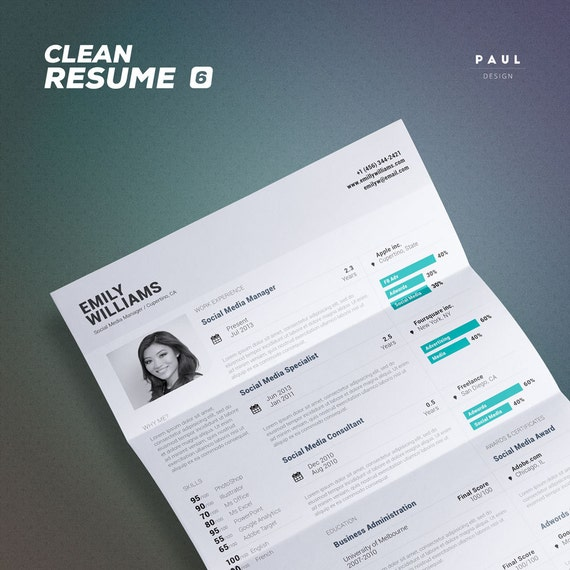 clean resume photoshop indesign clean
