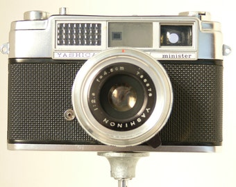 Vintage Yashica Minister 2 35mm Camera With Original Leather Wraparound Case