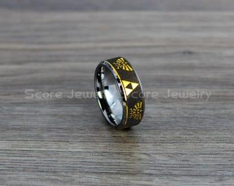 free shipping free custom engraving tungsten band with beveled edge zelda triforce inspired pattern ring - Zelda Wedding Ring