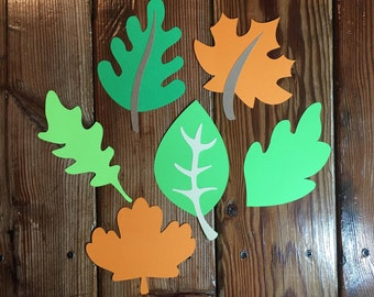 Set of 6 Scrapbooking Leaf Die Cuts. Diecut Leaves. Fall Embellishments. Flowers. Scrapbook Diecuts Garden Leaves. Papercrafting Party Decor