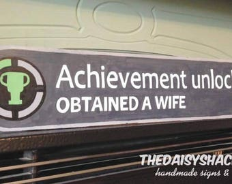 Games Console Sign, Wood Sign, Wedding, Achievement Unlocked