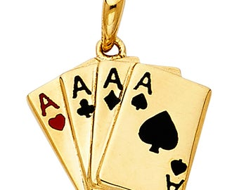 14K Solid Yellow Gold 4 four Aces Poker Card Black Red Wining Hand Charm Pendant For Men Women