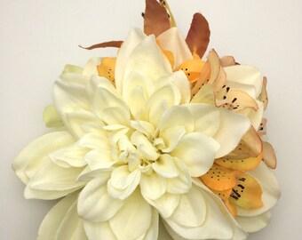 Handmade Ivory Dahlia & lily Hair Flower Clip