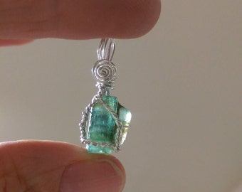 Natural, rough, Emerald wire wrapped pendant 6.05 carsts