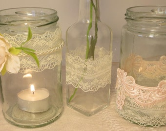 Jar candle set center pieces \ candle holders and vas with lace and flowersVintage style wedding decorations.