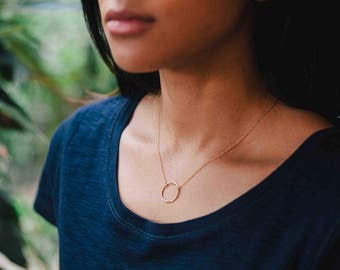 Karma necklace - gold circle necklace - delicate gold necklace - dainty gold necklace -