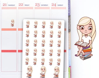 Vicky Girl Reads a Book, Book Stack Stickers, Planner Stickers