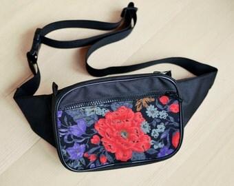 Red flower Waist bag waterproof money belt hip bag belt bag  floral fanny pack, floral bag