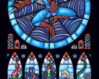 BUY 2, GET 1 FREE!  Spiderman Stained Glass 091 Cross Stitch Pattern Counted Cross Stitch Chart, Pdf Format, Instant Download /231358