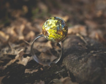 Orb Resin Nature Ring with Lichen, Moss and Bark #8119