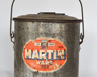 Vintage Martin Ware Covered Tin Bucket / Pail