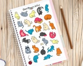 Cute Cats Planner Stickers | Cat Icons Stickers | Cat Lovers Stickers (S-221)