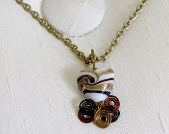 Swirled Murano Glass Heart Pendant with Tri-Colored Swirled Wire Flourishes ~ Wire Wrapped Glass Heart Necklace - adjustable 16-19""