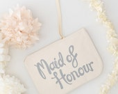 Bridesmaid Clutch - Wedding Makeup Pouch - Wedding Favour Pouch - Bridesmaid Makeup Bag - Maid of Honour Canvas Pouch - Alphabet Bags