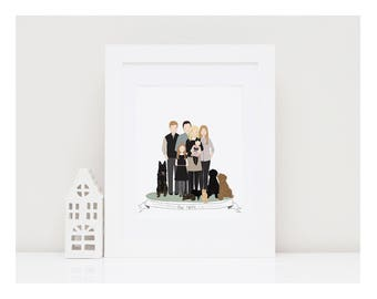 CUSTOM FAMILY PORTRAIT-Large Family Illustration-Bespoke Family Portrait-Family Gift-Cartoon Family-Custom Hand drawn illustration