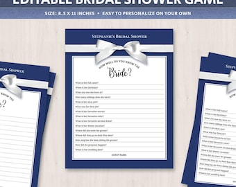 Bride quiz bridal shower games ideas, how well do you know the bride, editable paper game, dark blue, questions answers game, DIGITAL