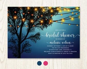 Hanging decorative lights bridal shower invitation, outdoor garden party, twilight night evening illumination surprise tree invite, DIGITAL