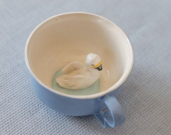 Mug ceramic blue tea cup with swan  - tiled duck animal figurine miniature