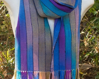 Painted Warp Scarf in Blue, Turquoise, Violet and Peach with Black Pinstripes